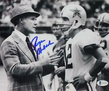 Roger Staubach Signed Cowboys 8x10 with Tom Landry Photo - Beckett Auth *Blue