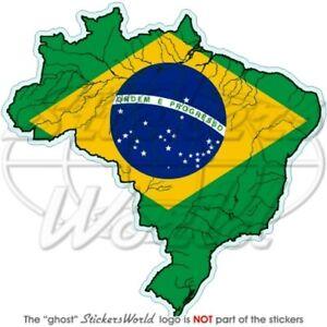BRASILIEN BRASILIANISCHE Karte-Flagge 100mm Auto Aufkleber Sticker Vinyl