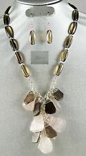 Cascade of beautiful Edges Smokey & Rose Quartz Large FreeForm Chips NecklaceSet