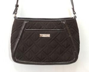 Vera Bradley Brown Quilted Shoulder Bag Faux Leather Trimmed Purse Adjustable