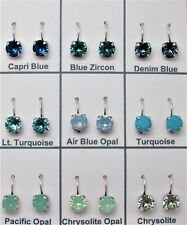 8mm Antique Silver Cup Chain Earrings W Genuine Swarovski 41 Colors Your Choice