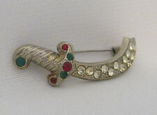 VINATAGE 1950s - 1960s CUTLASS PIRATE SWORD BROOCH RHINESTONES SILVER METAL