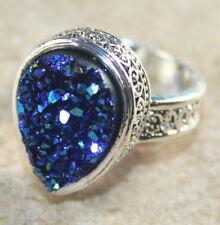 SILVER Vintage Style Blue Green Rainbow Titanium Druzy Teardrop Ring Size 6