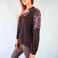 Juicy Couture Black Label Knit Jersey Lace Mixed Fabric Top - Size M - NWT