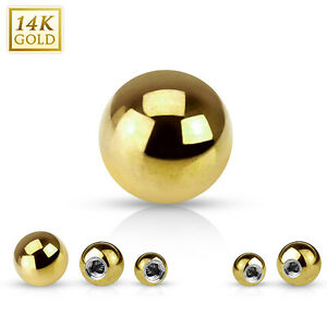 Replacement Ball 14K Solid Yellow Gold 14G 16G For Barbells 3MM 4MM 5MM