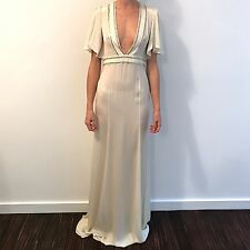 NWT Rare Gucci White Silk Beaded Crystal Wedding Gown Dress, Sz 40/6, $6000