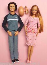 Pregnant Midge Barbie Doll Alan Pink Dress Happy Family Baby Bump Lot