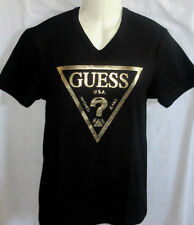 MENS G BY GUESS V-NECK ICONIC LOGO BLACK/GOLD T-SHIRT SIZE XL