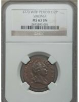 1773 1/2 P Virginia Halfpenny, Period MS63 Brown NGC coin