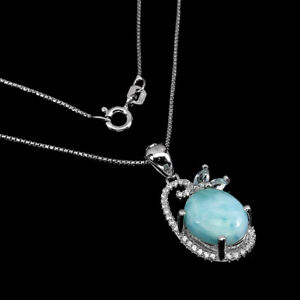 Unheated Oval Larimar 11x9mm Sky Blue Topaz Cz 925 Sterling Silver Necklace 18