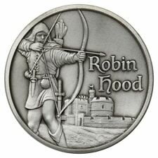ROBIN HOOD MAID MARIAN ULTRA HIGH RELIEF 2 oz SILVER ROUND ANTIQUED PRINCE THIEF