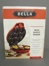 "Red BELLA  ""MINI DONUT MAKER"" w/Recipes - Bakes 7 Bite Size Donuts in Minutes"