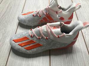 New Adidas Adizero Young King Low Football Lacrosse Cleats Size 6.5 White Orange