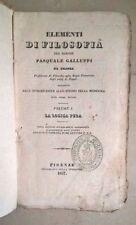 ELEMENTI DI FILOSOFIA GALLUPPI LA LOGICA PURA VOL I 1837