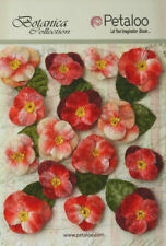 Pansies Fabric Velvet Red 7 Flowers 25mm & 8flowers 35mm With Leaves Petaloo V1