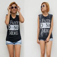 Women's Faith No More Vest Tank Top T Shirt Ladies Black Rock Singlet S/M - M/L