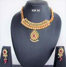 Indian Wedding Traditional Pearl CZ Beads Fashion Jewelry Necklace Earrings Sets
