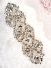 "Crystal Applique Rhinestone Silver Beaded Bridal Gown Accessories 3.75"" (GB618)"