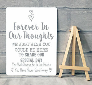 A5 Metal Wedding Memory Memorial Remembrance Table Sign Plaque