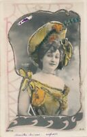Glitter Covered Hand Colored Reutlinger Real Photo Postcard of Woman -udb- 1904