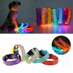Neck Nylon Pets Cat Dog Collars Adjustable Light Strap Luminous Flashing Night