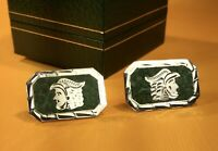 Vintage JCM Mexico 925 Sterling Silver Turquoise Inlay Cufflinks Mens Jewelry