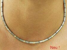 Edelstahl Kette Halskette Collier Gold Hämatit Kugel Damen Herren Edelstahlkette