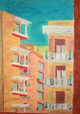 1976 European landscape cityscape pastel painting signed