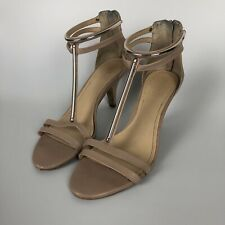 Vince Camuto T-strap Heels Womens Size 7 Nude Pink Gold Bar Detail