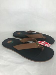 VANS Nexpa Flip Flops Sandals Mens Sz 11 Brown Black Rasta UltraCush VN0A347QQ3Z