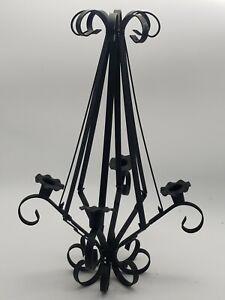 Vintage Black Hanging Wrought Iron Candle Holder Candelabra Goth Spanish Revival