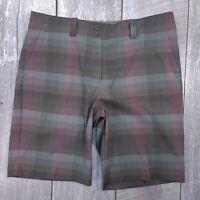Nike Golf Dri-Fit Shorts Womens Size 14 Gray Purple Plaid Bermuda Walking SH16
