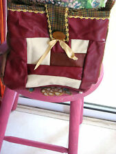 Tote  Bag Leather Quilted Browns Handmade  12x12 inch Wooden Button Ribbons