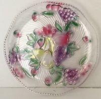 Vintage Cut Glass Serving Bowl Basket and Platter Fruit Design Glassware