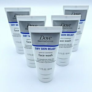 Dove Derma Series Dry Skin Relief Face Wash Travel Size 5 pack Wholesale lot