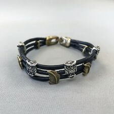 Gold Feathers Charms Wrist Bangle Bracelet Black Faux Leather Silver Owls and