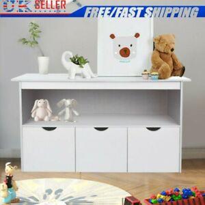 Modern White Sideboard Toy Storage Cupboard Cabinet Furniture W/ 3 Large Drawers