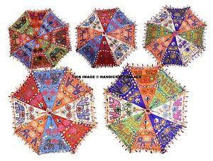 5 Gros Indien Ombrelle Éléphant Broderie Femme Soleil Protection Coton Parapluie