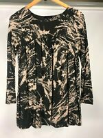 Witchery S or 10 long sleeve swing top black and brown BNWOT
