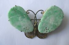 Antique Chinese Jadeite Jade Gilt Silver Butterfly Moth Pin Brooch