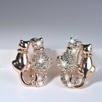 18k rose gold gf made with SWAROVSKI crystal cats in love dating stud earrings