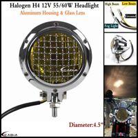 4.5'' H4 Motorcycle Mesh Headlight Head Lamp For Harley Chopper Bobber-Aluminum