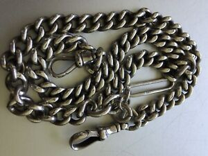Antique Sterling Silver Albert Watch Chain / Necklace C1900 - Superb
