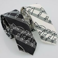 "Lot 2pcs of 2"" Polyester Black & White Musical Notes Necktie Music SKINNY Tie"