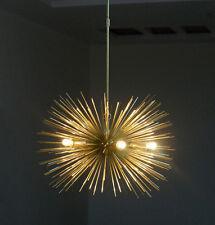 Gold Mid Century 5 Bulbs Brass Sphere Urchin Chandelier Light Pendent