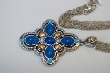 NWT Brighton Nadia Silver Blue Onyx , Turquoise & Gold Cross Necklace $96