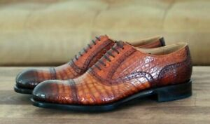 Lace Oxford Genuine Leather Alligator Burnished Brown Mens INV