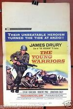 "The Young Warriors (James Drury) 22""x14"" Window Card Original Movie Poster 60s"