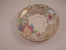 Colclough Bone China Saucer Victorian Lady In Garden Gold Chintz