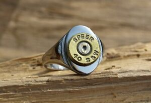 Stainless Steel Bullet Ring. Brass 40 Caliber Bullet.  Optional Crystal.